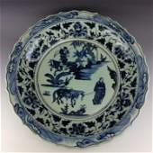 """Ming-style Large 22"""" blue & white plate"""