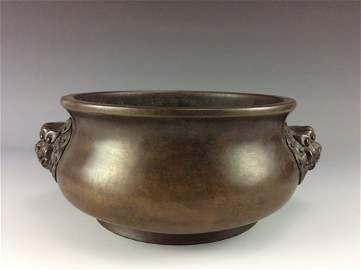 Important Large Fine Chinese copper censer, marked