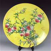 """Rare large 16.5""""  Chinese yellow ground, famille rose"""
