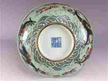 Important Chinese famille rose bowl,  celadon ground,