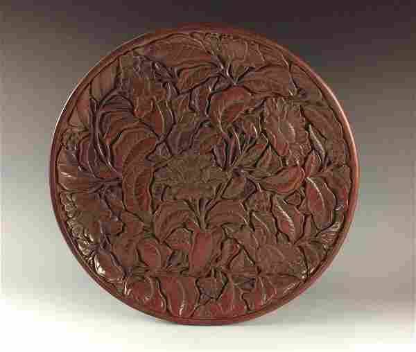 Fine Chinese Lacquer Cinnabar Plate, Floral Design