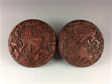 Fine Chinese Carved Cinnabar Round Box with Auspicious