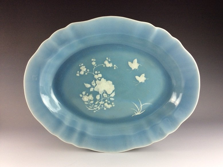 Rare 18C Qianlong period Chinese plate, blue ground