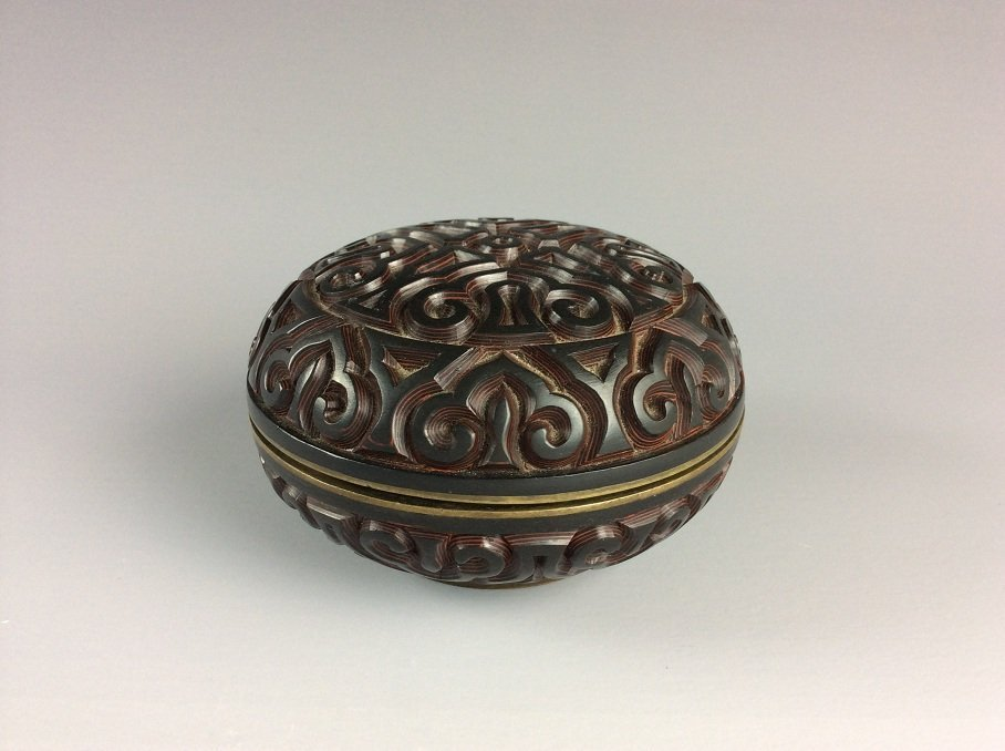 Chinese Carved PolychromeMetal Base Lacquer Box with