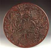 Fine Chinese Carved Lacquer Cinnabar Plate decorated