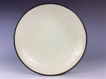Fine Chinese  Ding style porcelain plate, white glaze,