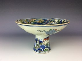 Chinese Blue And White With Overglaze Color Porcelain