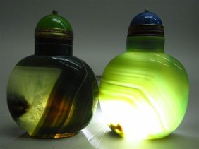 A Set Of Green And White Crystalloid Agate Snuff Bottle