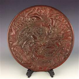 Important Chinese Carved Lacquer Cinnabar charger