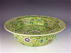 Chinese porcelain vase,  green ground, famille rose