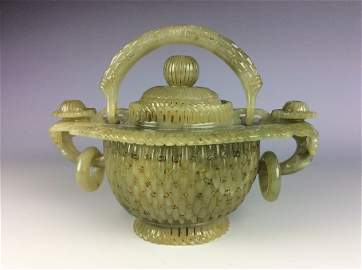 Rare & fine Muhal style / Chinese jade pot with lid,