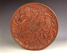 Fine Chinese Carved Lacquer Cinnabar charger decorated