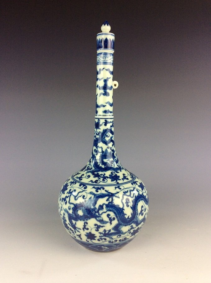 Chinese  porcelain vase,  blue & white glaze, decorated