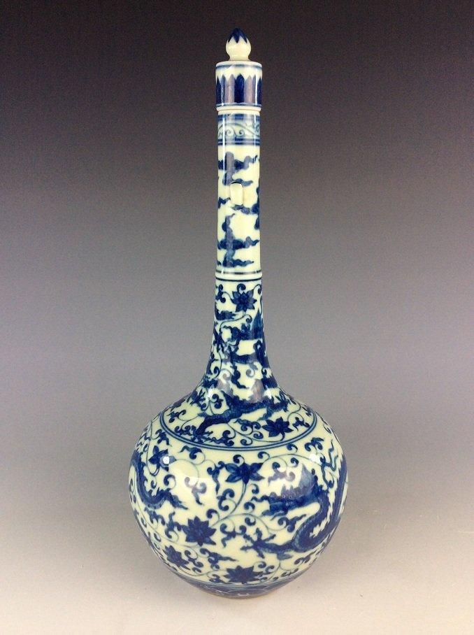 Chinese  porcelain vase,  blue & white glaze, decorated - 2