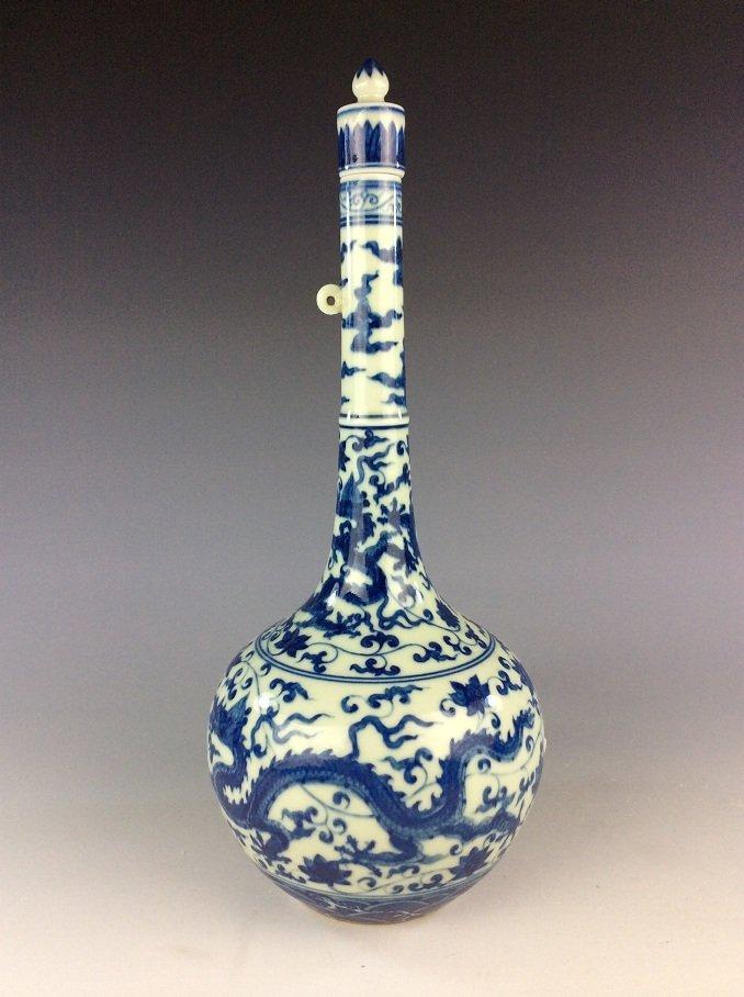Chinese  porcelain vase,  blue & white glaze, decorated - 3