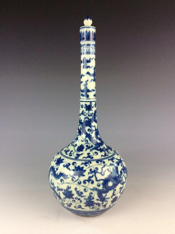 Chinese  porcelain vase,  blue & white glaze, decorated - 4