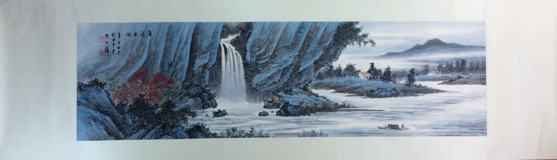 Chinese painting, hand painted, mounted w/o scroll, ink - 2