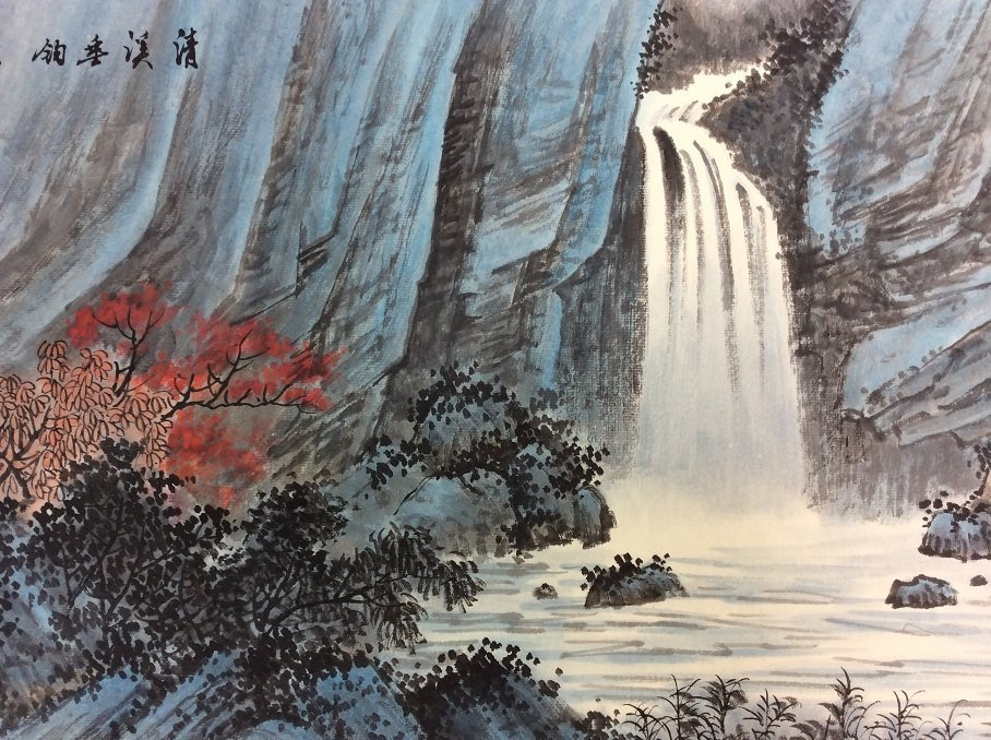 Chinese painting, hand painted, mounted w/o scroll, ink - 3