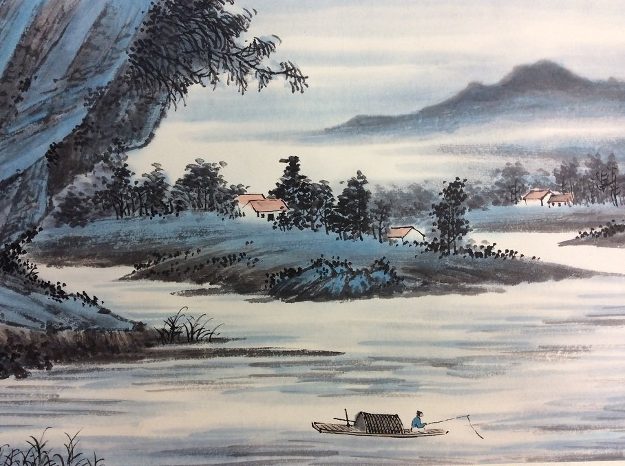 Chinese painting, hand painted, mounted w/o scroll, ink - 4