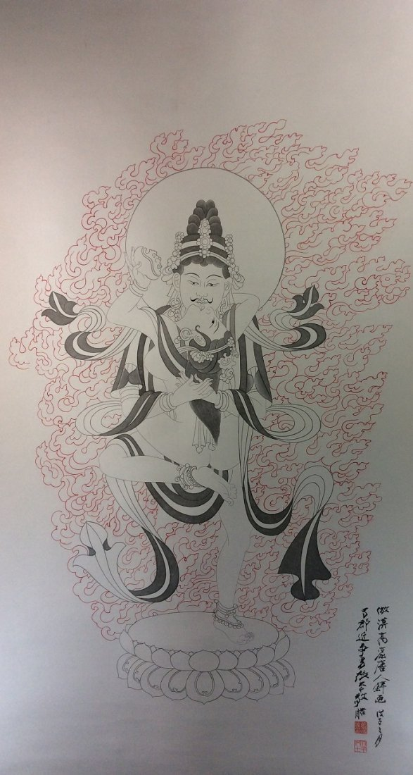 Chinese painting, hand painted scroll, ink and colors