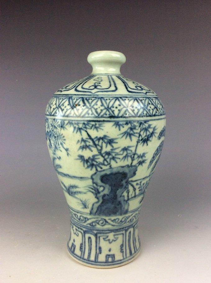 Vintage  Chinese porcelain vase, blue & white glazed,