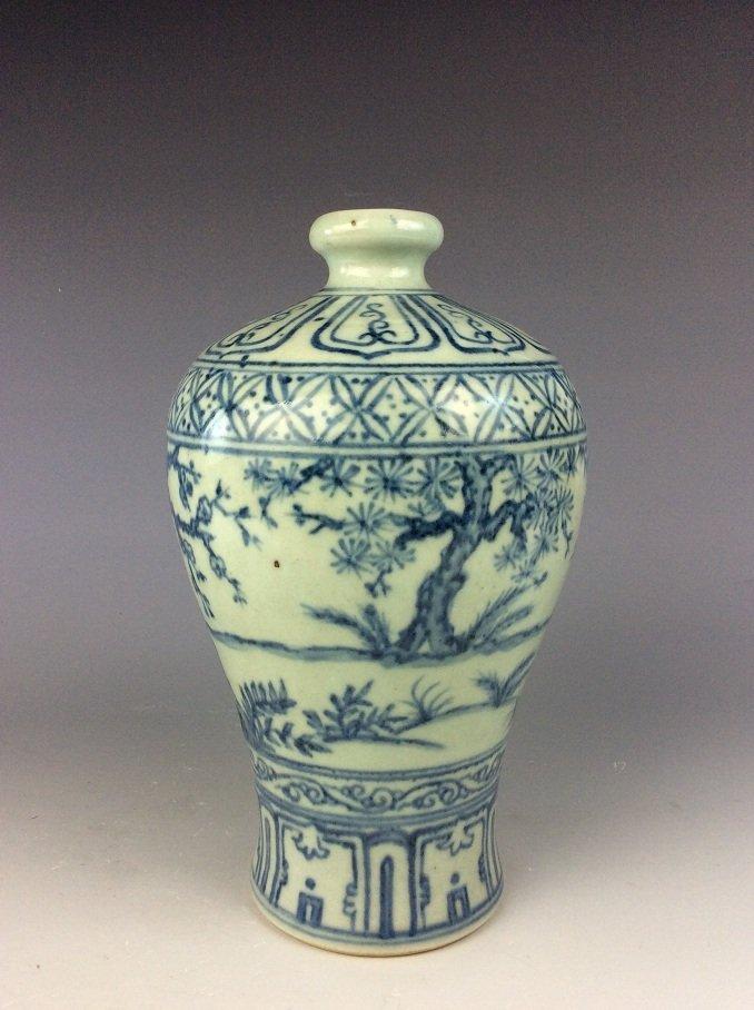 Vintage  Chinese porcelain vase, blue & white glazed, - 2