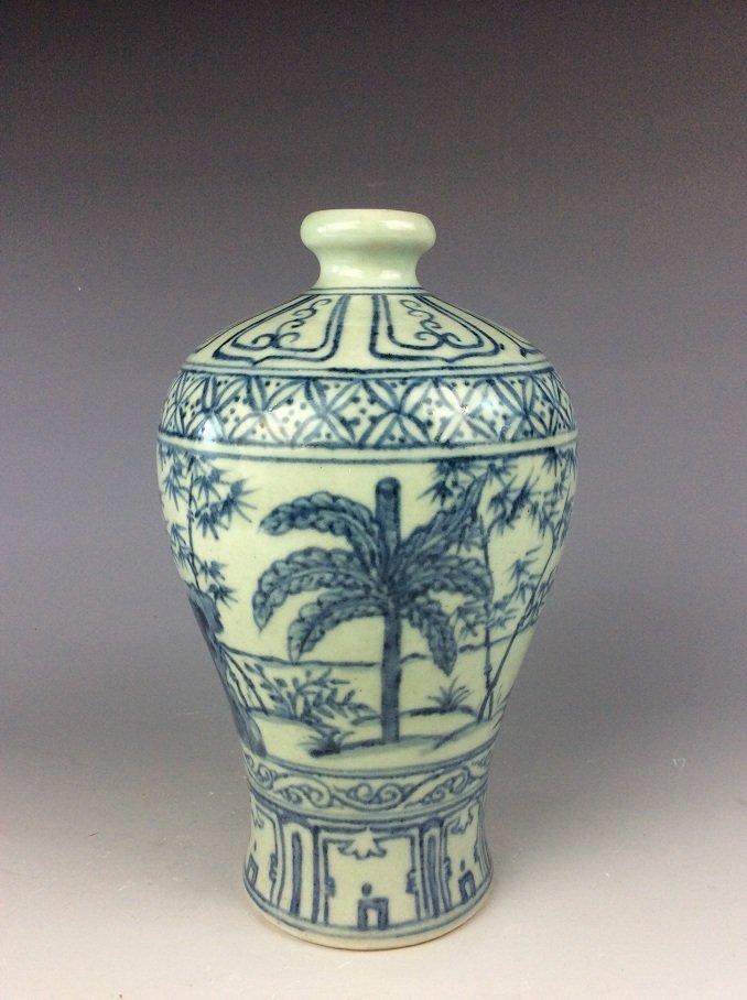 Vintage  Chinese porcelain vase, blue & white glazed, - 3