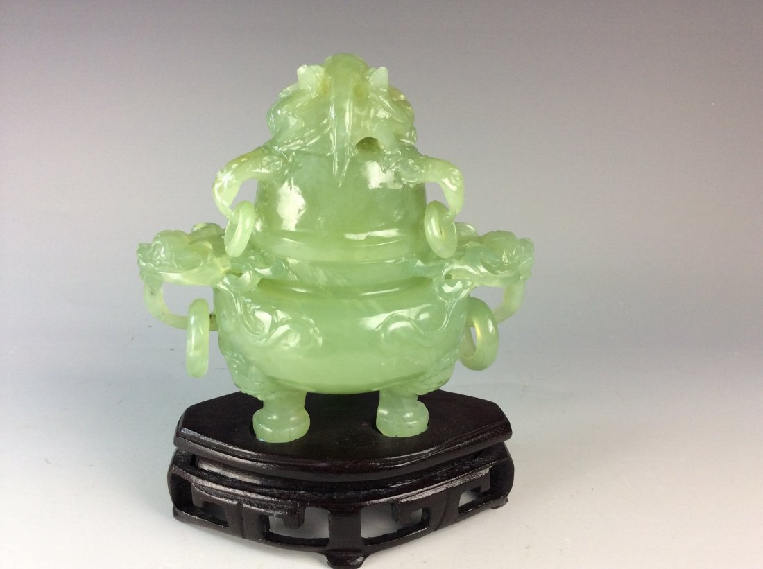 Fine Chinese nephrite jade censer with lid, carved with - 2