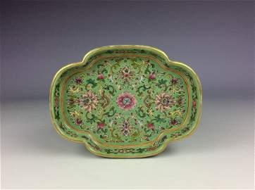 Fine 19C Chinese porcelain plate, lotus shape, famille