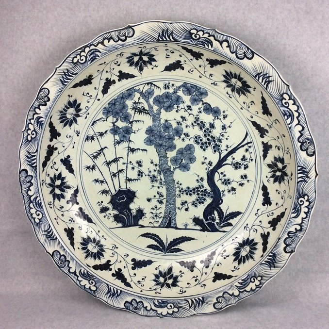 Rare Large Chinese porcelain Ming style plate, blue &