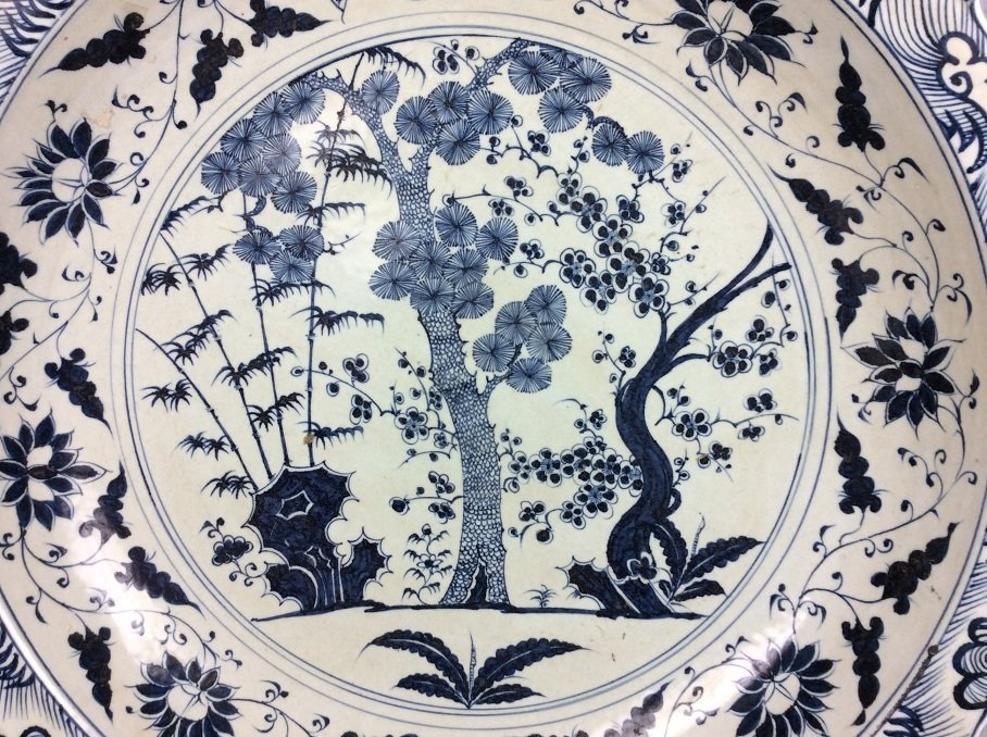 Rare Large Chinese porcelain Ming style plate, blue & - 2