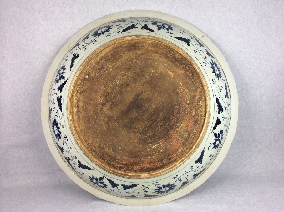 Rare Large Chinese porcelain Ming style plate, blue & - 3