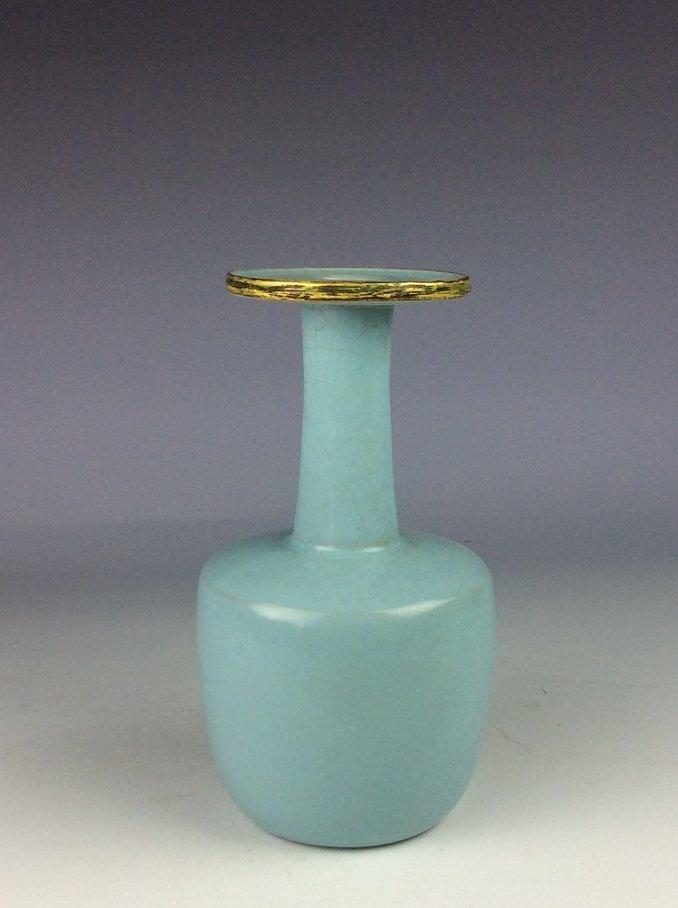 Chinese porcelain vase, sky blue color glazed