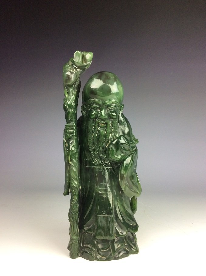 Fine Chinese nephrite, Hetian green jade,  carved