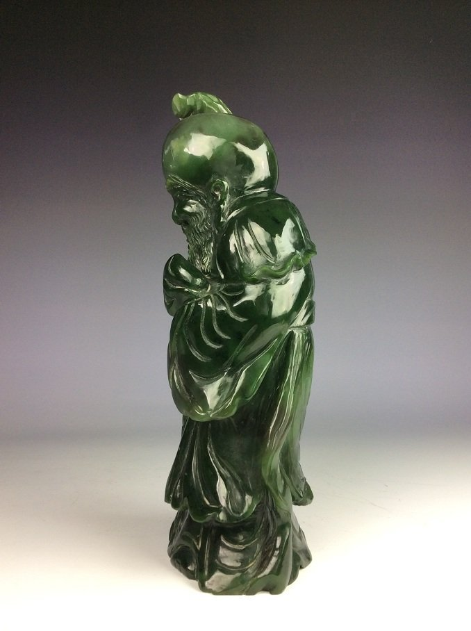 Fine Chinese nephrite, Hetian green jade,  carved - 3
