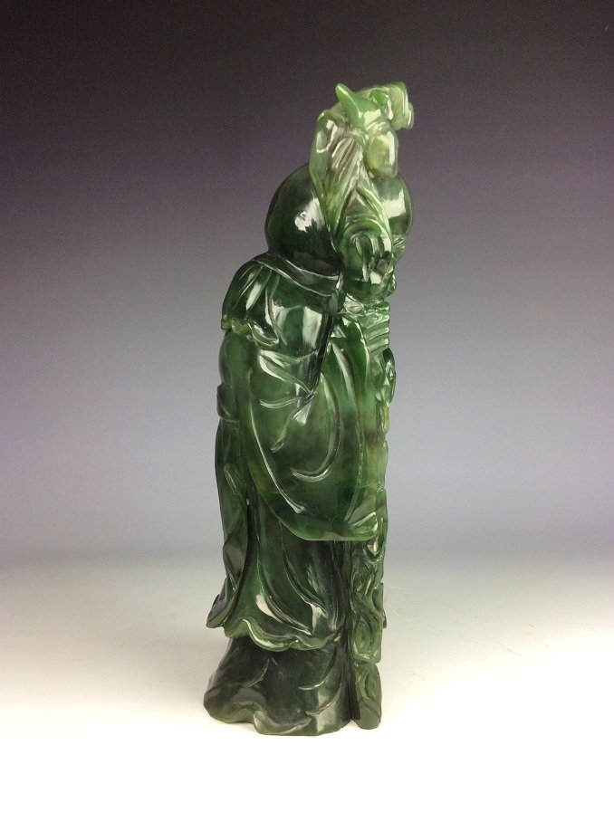 Fine Chinese nephrite, Hetian green jade,  carved - 4