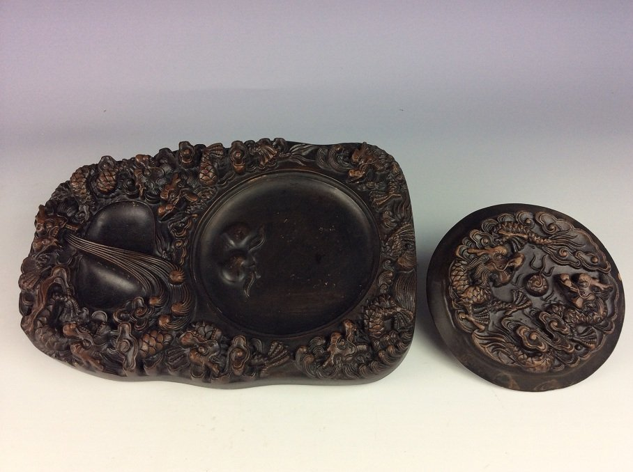 Chinese ink stand decorated with dragon. - 2