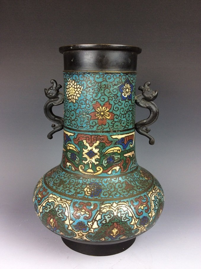 Vintage Chinese cloisonne vase, Decorated with flowers
