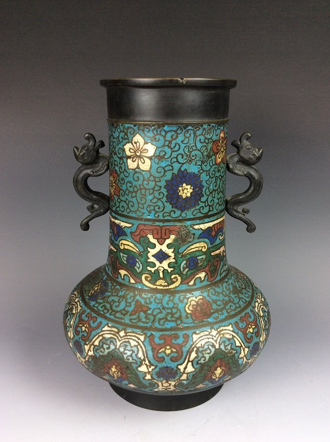 Vintage Chinese cloisonne vase, Decorated with flowers - 2