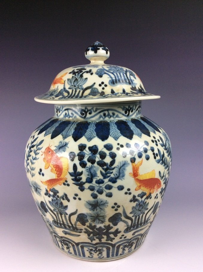 FineChinese porcelain jar with lid, Wucai glazed, - 2