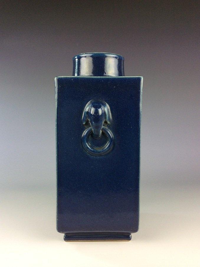 Rare Chinese Qing period porcelain vase,  blue glazed, - 2