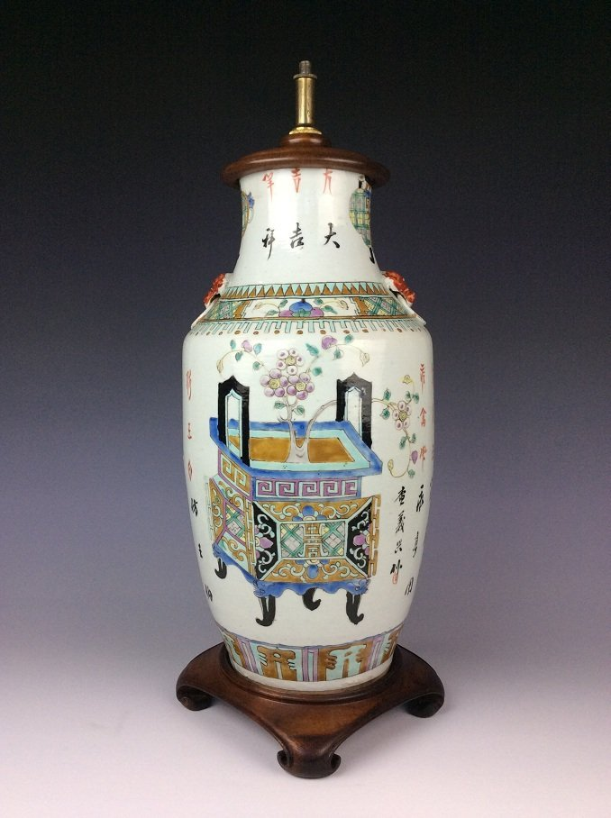Chinese famille rose porcelain vase with still life
