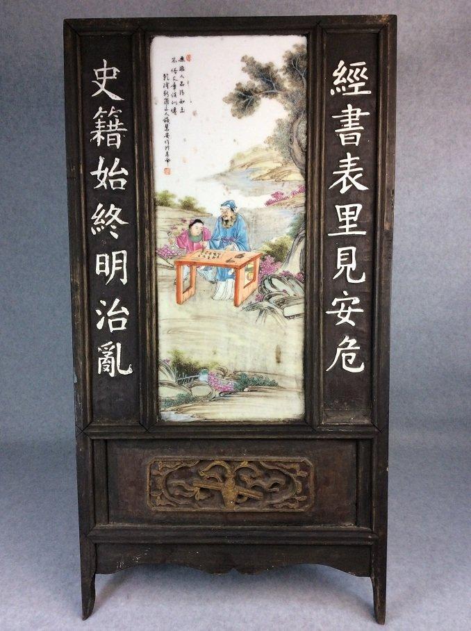 Fine  Chinese porcelain plaque, blue & white glazed,