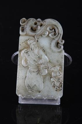 CHINESE JADE PENDANT CARVED WITH GOD OF FORTUNE AND KID