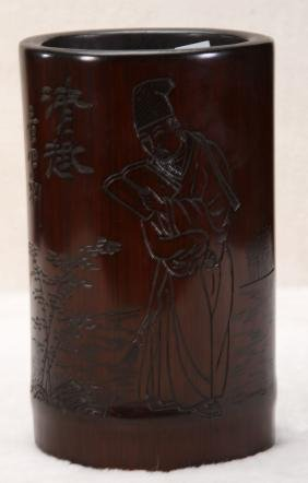 [CHINESE]A QING STYLED BAMBOO BRUSHPOT CARVED WITH