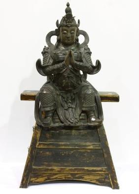 """[CHINESE]A LATE 17TH CENTURY BRONZE BUDDHA L:12"""""""