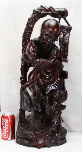 """[CHINESE]A WOOD CARVED GOD OF LONGEVITY L:9"""" W:8"""""""