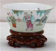 [CHINESE]A QING STYLE FAMILLE ROSE CUP PAITNED WITH