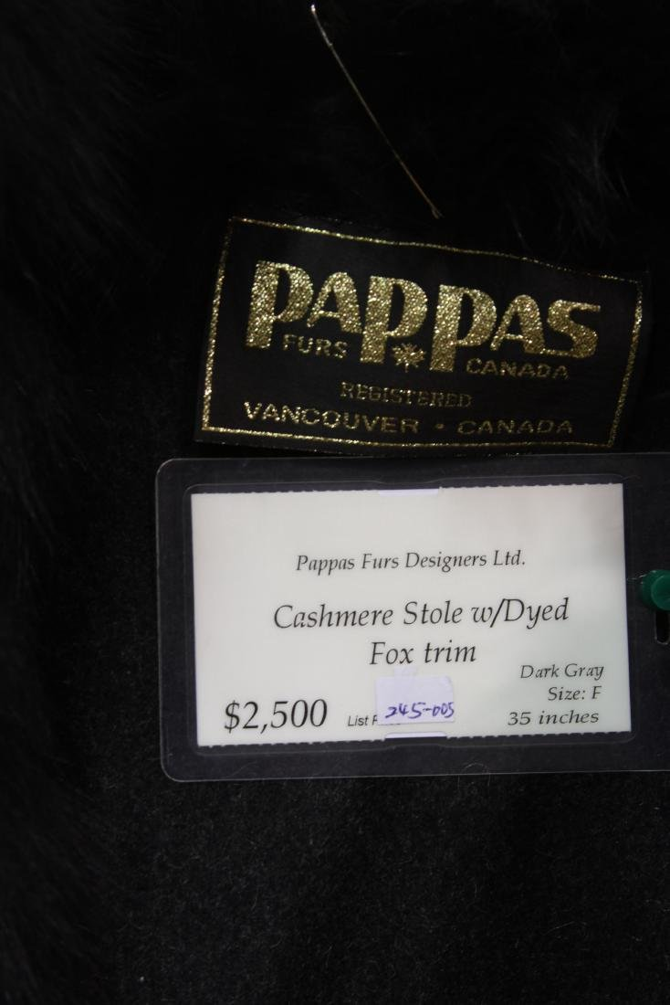 VANCOUVER CANADA PAPPAS FURS CASHMERE STOLE WITH FOX - 2