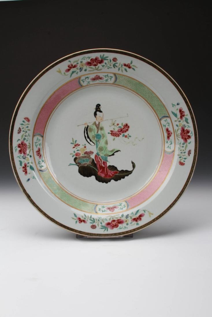 """F AMILLE-ROSE PORCELAIN PLATEWITH FIGURE DESIGN W:15.3"""""""